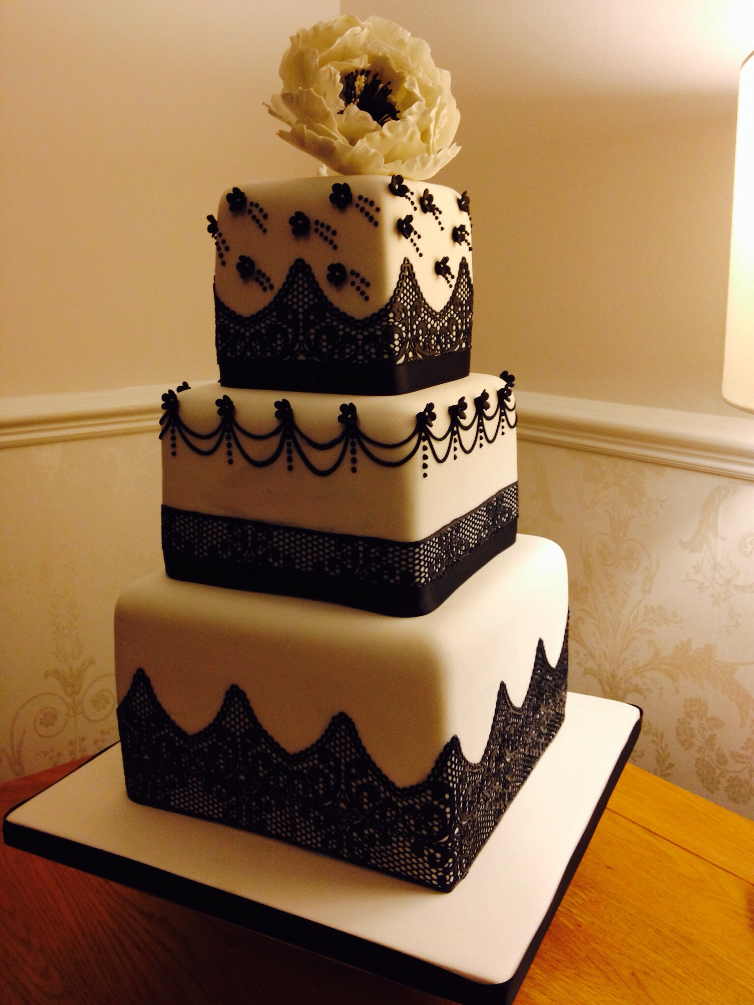 Black & White Contemporary Wedding Cake with Lace and